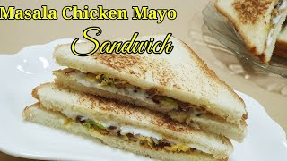 Masala Chicken mayo sandwich/ easy sandwich/ sandwich recipe Malayalam/ easy evening snack