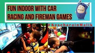 Fun Indoor with car Racing and Fireman games #KeseharianMalik