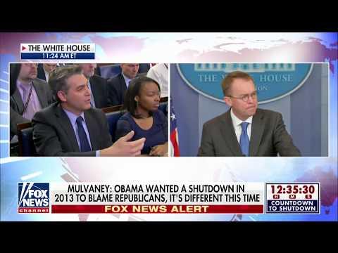 Jim Acosta vs. Mick Mulvaney on government shutdown blame.