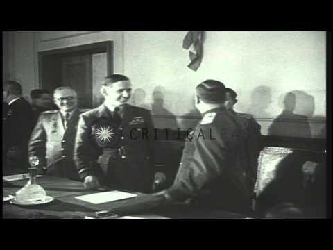 Field Marshal Keitel signs the unconditional surrender act as Allies take over a ...HD Stock Footage