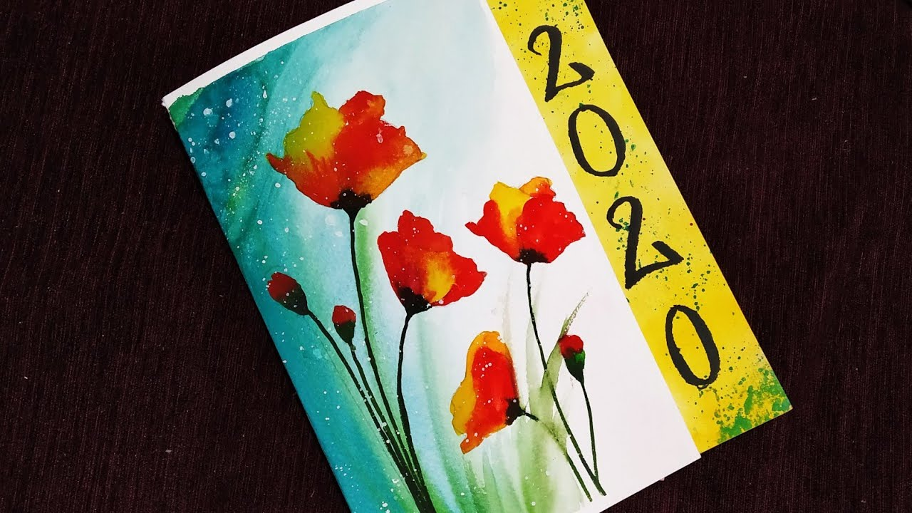 how to make happy new year 2020 card beautiful watercolor