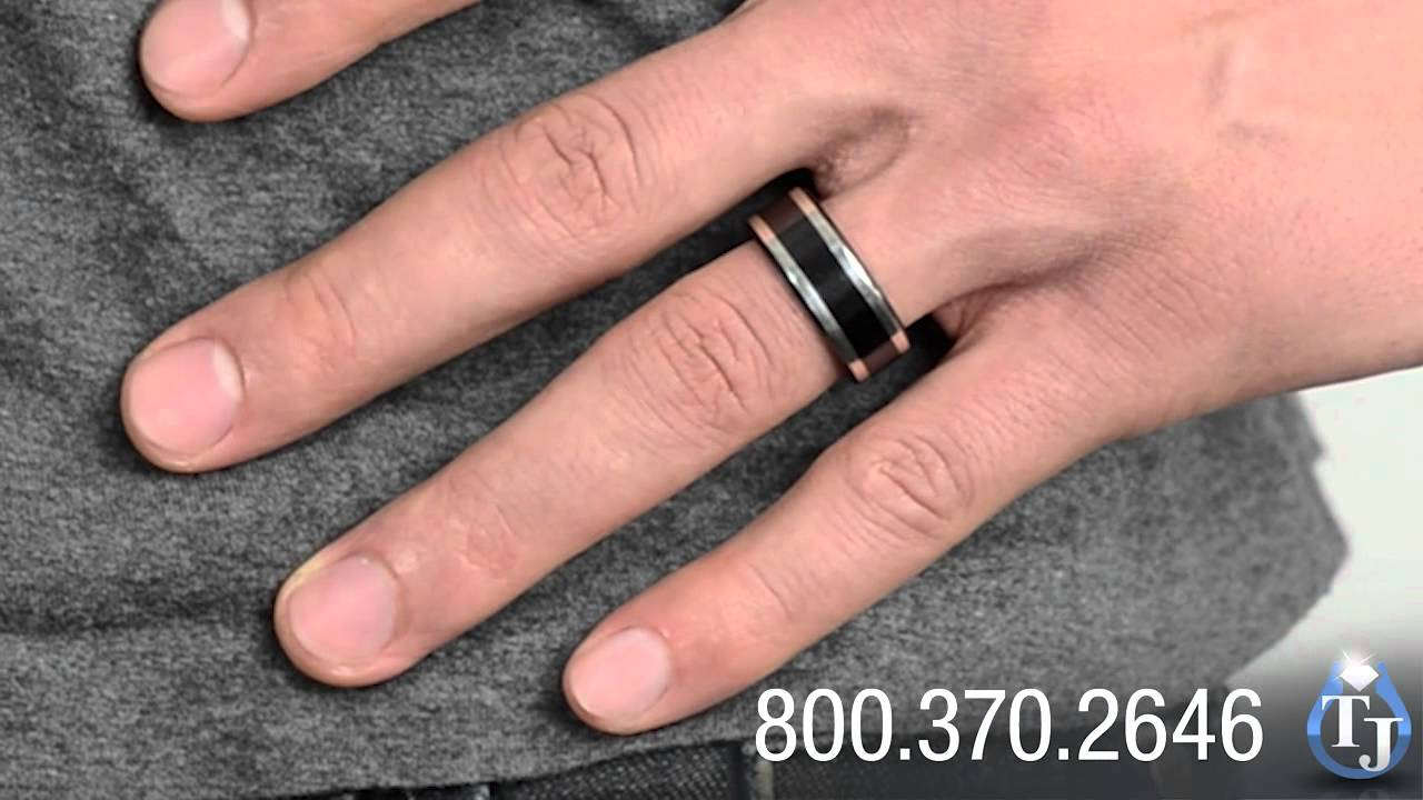 Black Titanium Wedding Band with Sterling Silver by Edward Mirell, 9mm