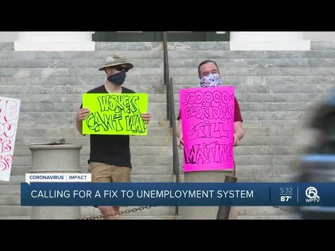 Protesters gather around Florida to push for faster payments from Department of Economic Opportunity