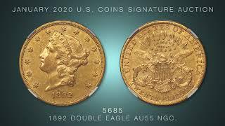 1892 $20 AU55 NGC.