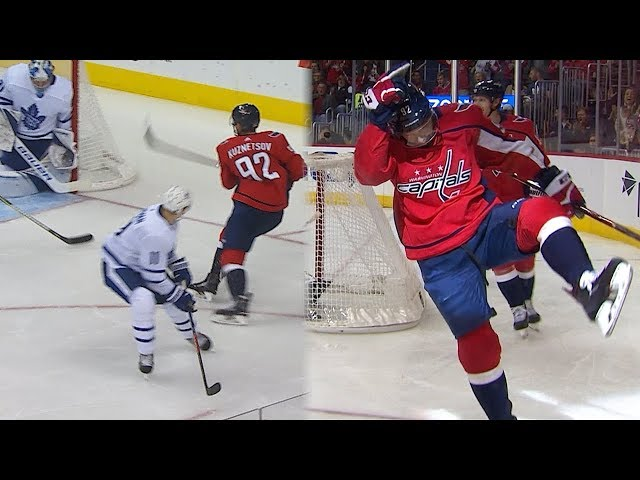 Evgeny Kuznetsov perfectly places a top-shelf snipe from an impossible angle!