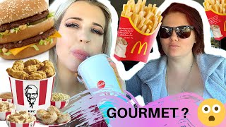 LETTING THE PERSON IN FRONT OF US DECIDE WHAT WE EAT! DRIVE THRU CHALLENGE FT THE GIRL NEXT DOOR!