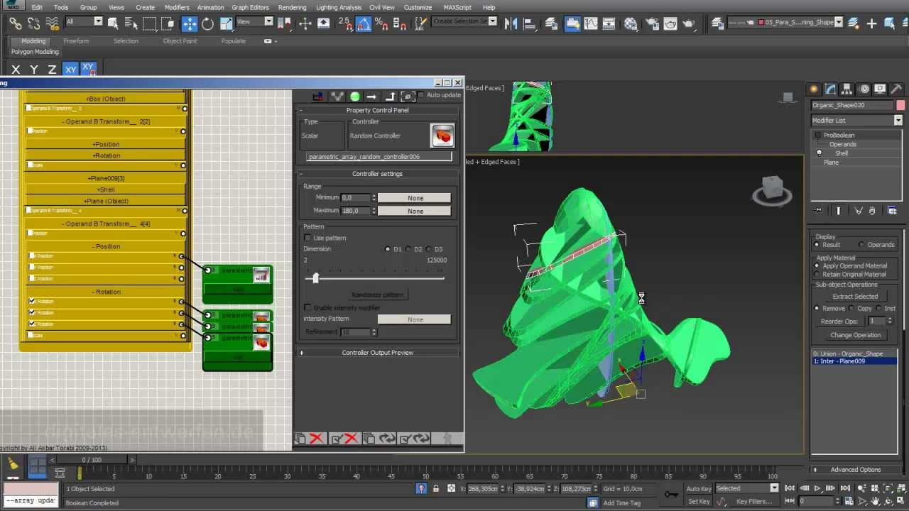 Sectioning 07: parametric arrays based on 3d-shapes with para 3D in 3ds max
