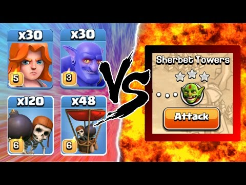 Clash Of Clans | 1 TROOP TROLL CHALLENGE vs SHERBET TOWERS! | EPIC GAMEPLAY!
