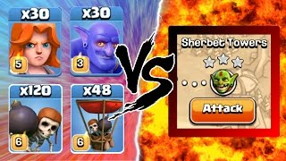 Clash Of Clans | 1 TROOP TROLL CHALLENGE vs SHERBET TOWERS! | EPIC GAMEPLAY!
