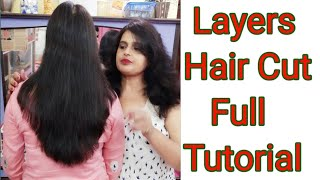 Long hair cut in different ways/layers hair cut/front layers hair cut /hair cut full tutorial