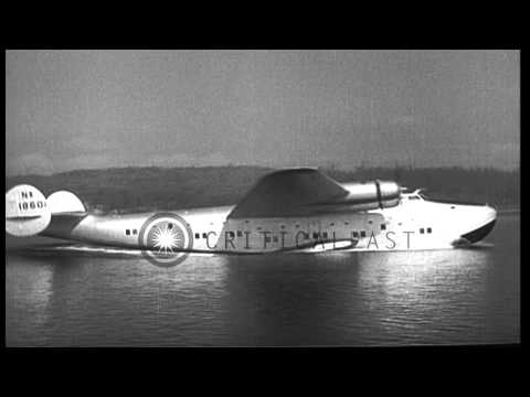 A Boeing 314 'Clipper' in flight during a test in the United States. HD Stock Footage