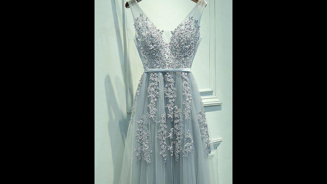df9f7cb8349 A-Line Princess Sleeveless V-neck Tulle Applique Floor-Length Dresses -  Hebeos