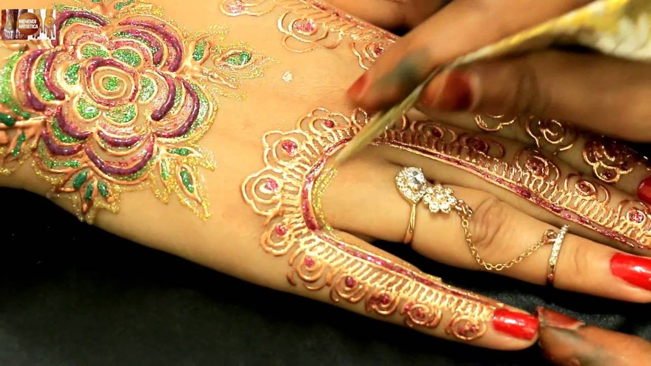 Mehndi Party Saree : Designer party mehndi designs for hands beautiful wedding hennas