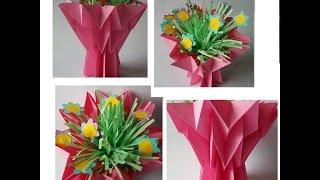 Как сделать вазу с цветами из бумаги. Бумажная вазочка своими руками