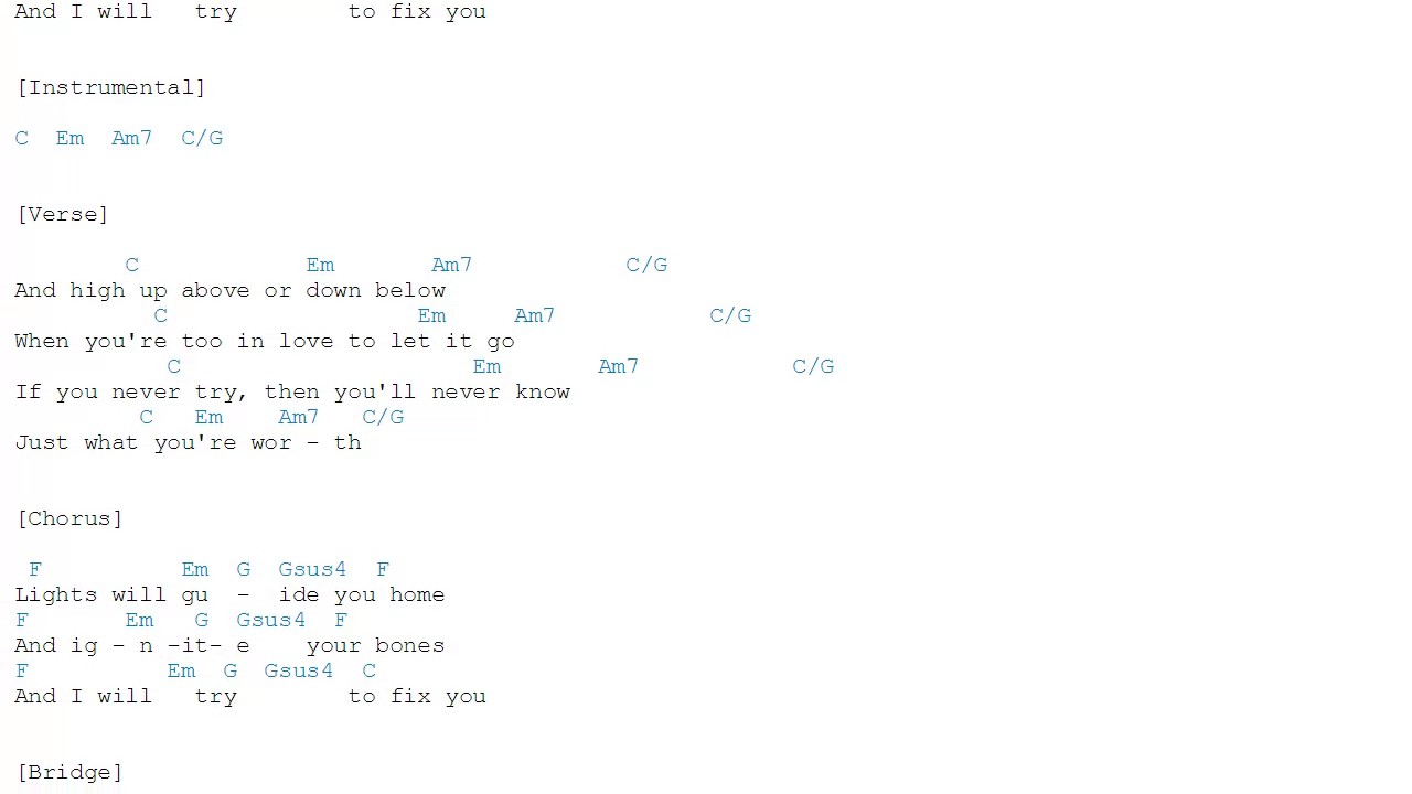 Fix you coldplay chords youtube fix you coldplay chords hexwebz Gallery