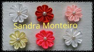 Mini flor de cetim para iniciantes por Sandra Monteiro – Artesanatos