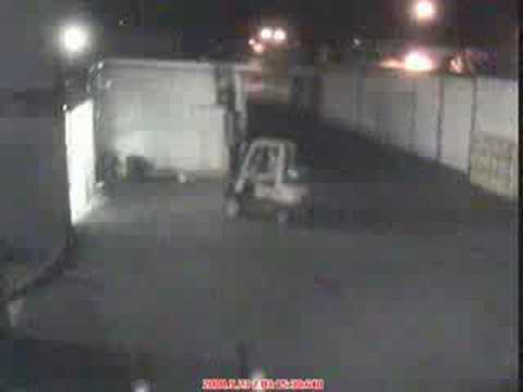 Fork Lift Industrial Garage Door Accident Security Camera Youtube