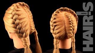 Делаем прическу из двух французских кос по диагонали - видеоурок (мастер-класс) Hair's How