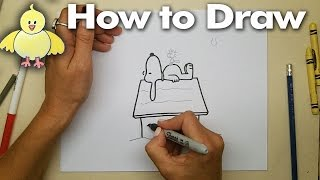 Drawing:  How to Draw Snoopy and Woodstock Step by Step - Easy - DoodleDrawArt!