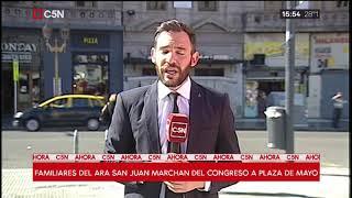 Familiares del ARA San Juan marcharon del Congreso a Plaza de Mayo