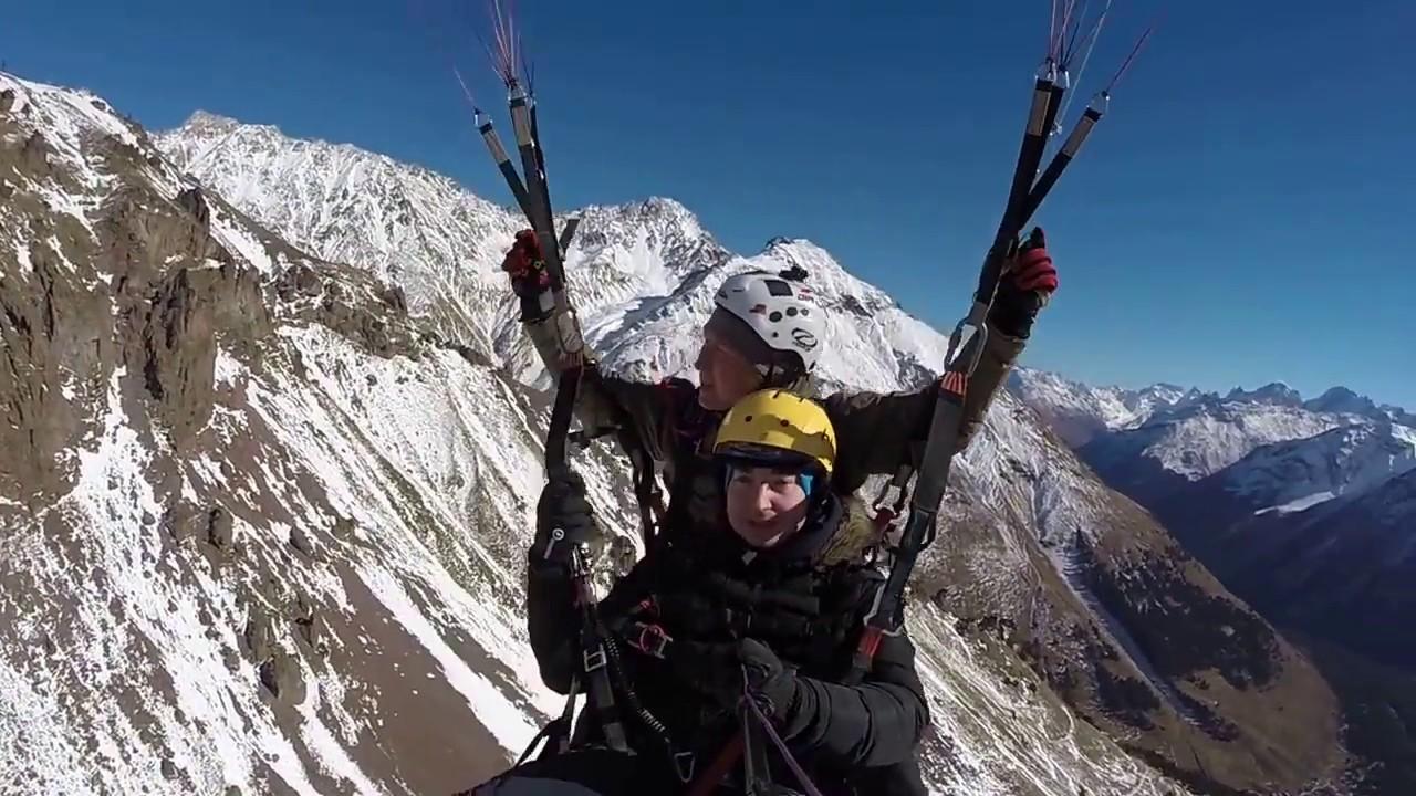 Полет на параплане! Гора Эльбрус! С высоты 3800 метров!