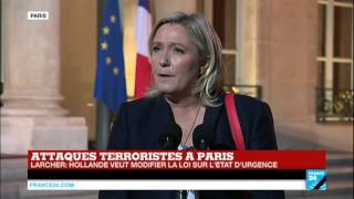Attentats de Paris : Intervention de Marine Le Pen suite à son entretien avec François Hollande