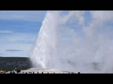 Old Faithful Geyser full eruption - HD - Yellowstone National Park - June 2019