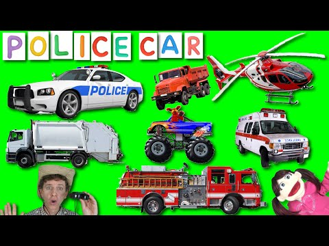 First Words #16 POLICE CAR | Learning 6 Emergency & Street Vehicles | Learn English Kids With Matt