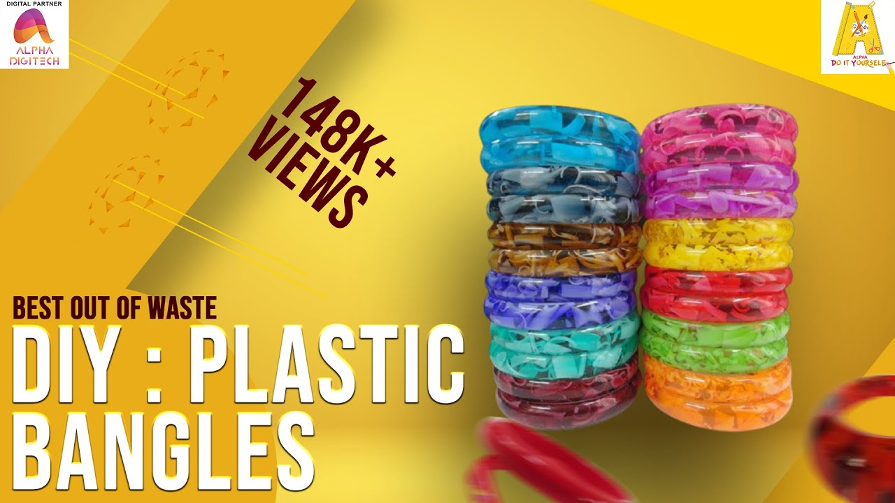 Diy plastic bangles best out of waste fancy bangles for Best out of waste topics