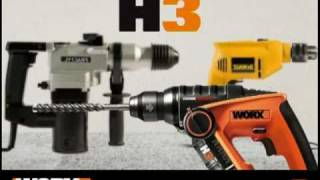 Worx WX382 H3™ 12V Li-ion 3-in-1 Drill/Driver/Rotary Hammer (German VO)