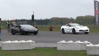 DRAGRACE | BURNING CLUTCH! | Corvette C7 vs Lamborghini Huracan vs Audi R8 vs 911 Turbo
