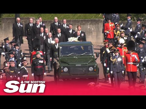 The Royal Family walk behind Land Rover hearse carrying Duke of Edinburgh's coffin to chapel
