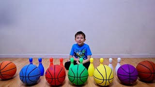 Learn Colors Playing Bowling Pins and Color Basketball for Toddlers