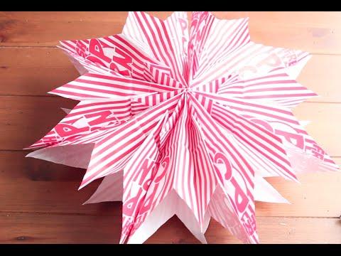 Diy como hacer estrellas de papel con bolsas para - Hacer bolsas de papel en casa ...