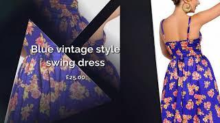 DRESS NEST - FASHION & SOUL JEWELLERY - Blue vintage style swing dress