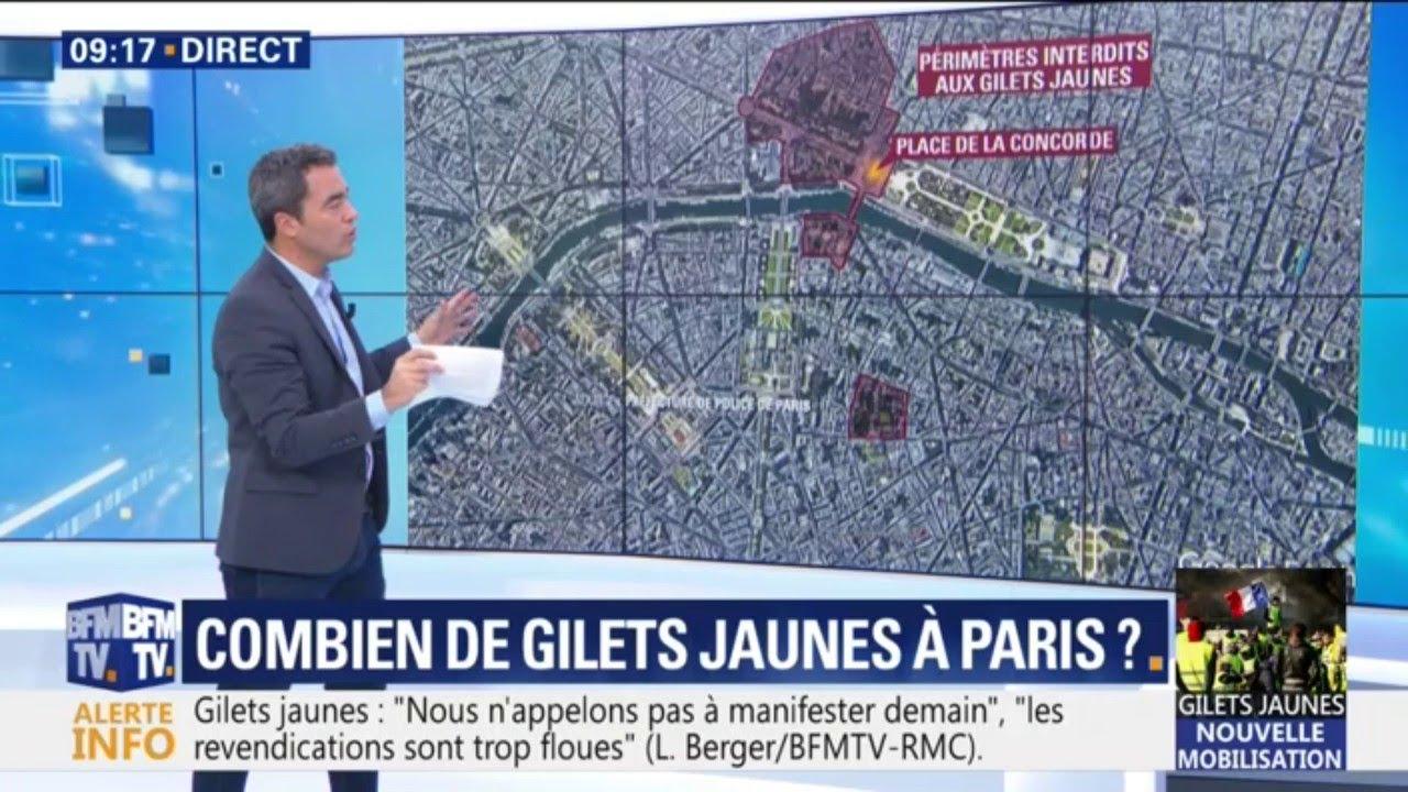 Les zones où les gilets jaunes ne pourront pas manifester demain à Paris