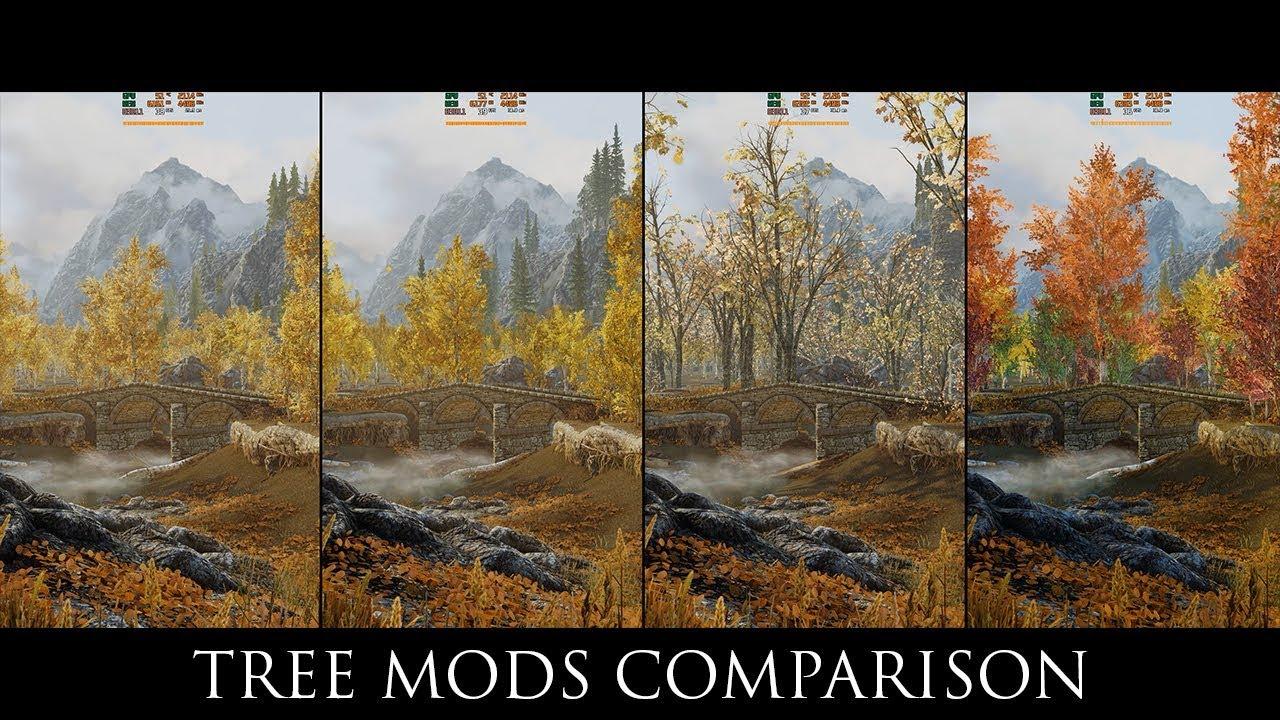 Skyrim Se Mods Tree Mods Comparison Skyrim 3d Trees Sfo Evt Forests Of Dibella Youtube
