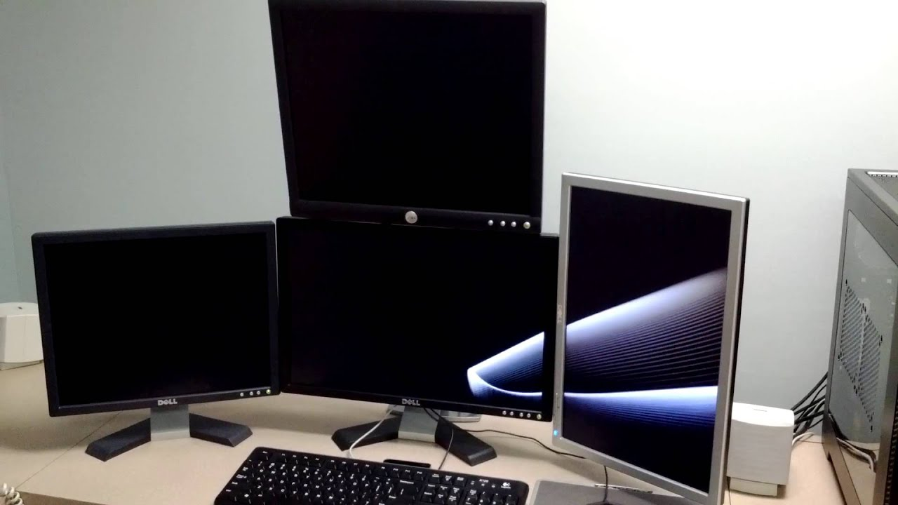 Quad Monitor Setup Using Ergotron Lx Dual Stacking Arm
