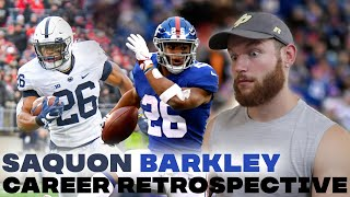 Rugby Player Reacts to SAQUON BARKLEY Football Career Retrospective Highlight Video!