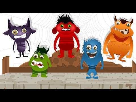 Five Little Monsters  Nursery Rhyme with Lyrics  Halloween Song