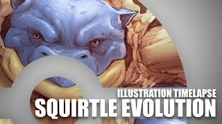 Timelapse Illustration - Squirtle, Wartortle and Blastoise!