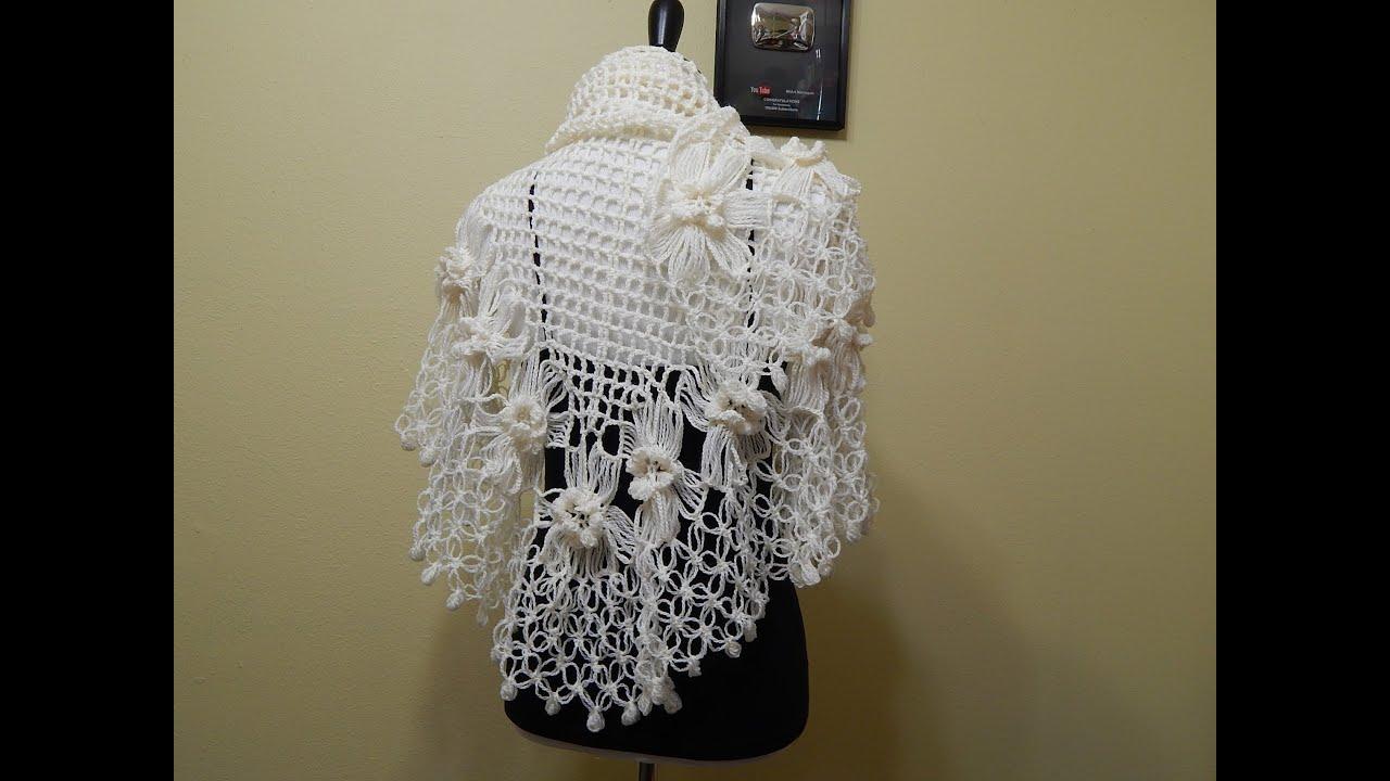 Flor # 13 Crochet para Chal con Flores - YouTube