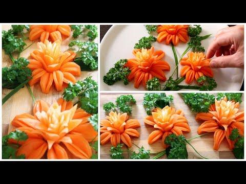Super Salad Decorations Ideas - Carrot Flower Carving Garnish