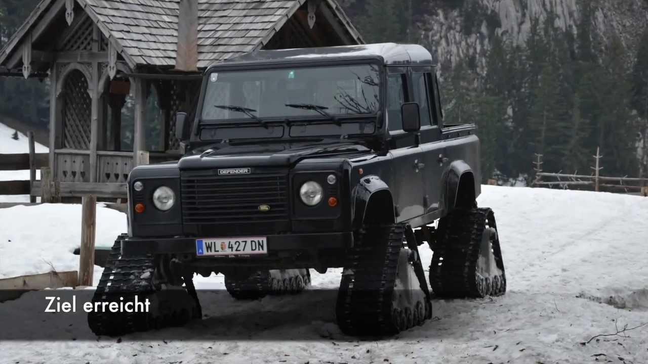 Land Rover Defender 110 Dcpu Mit Snow Tracks Youtube