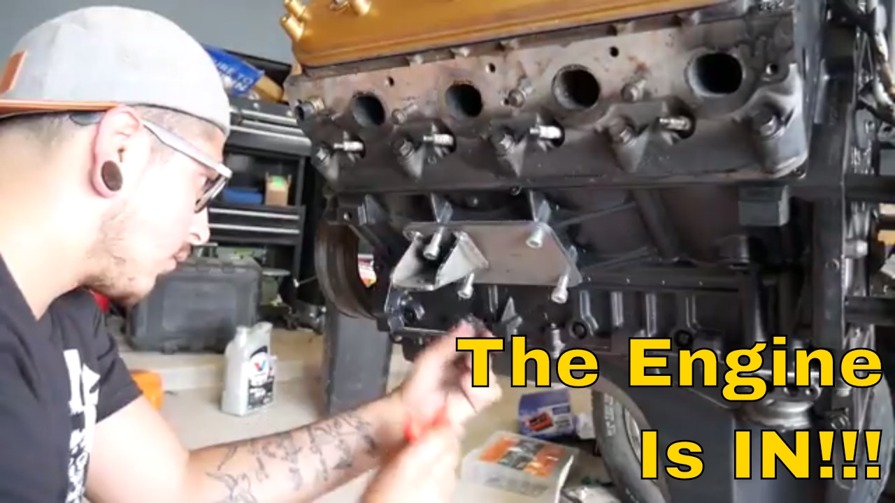 The Engine Is in!! - Motor Mount Install - 55 Chevy Pickup ...