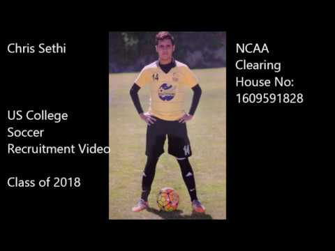 Chris Sethi US college soccer recruitment video - Class of 2018
