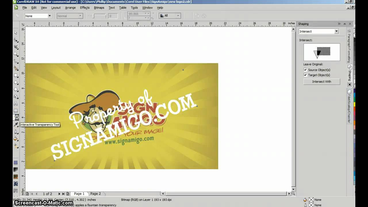 sign design tutorial - watermark in corel draw