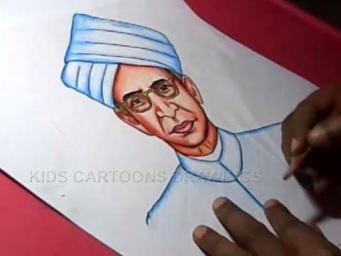 How to draw dr sarvepalli radhakrishnan drawing for kids step by step
