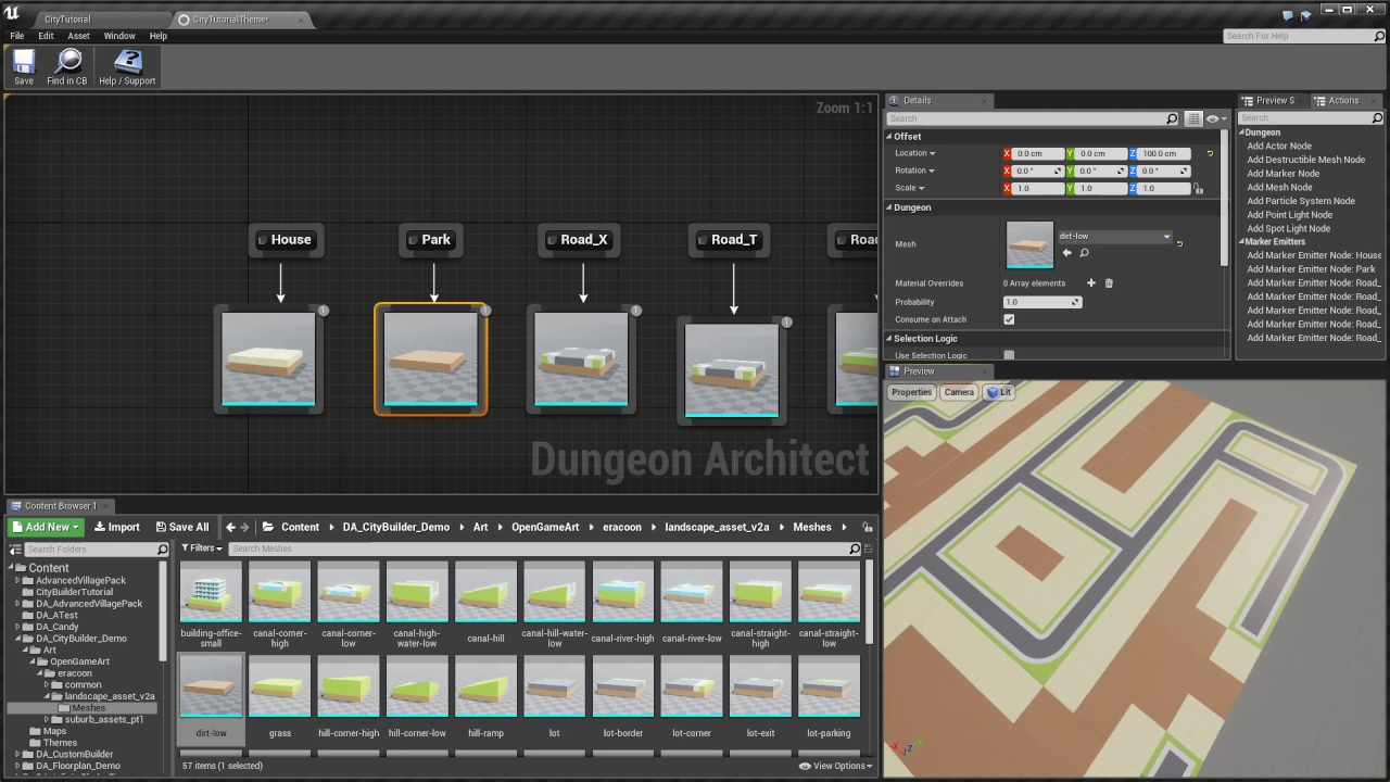 Dungeon Architect: City Builder walk through [UE4]