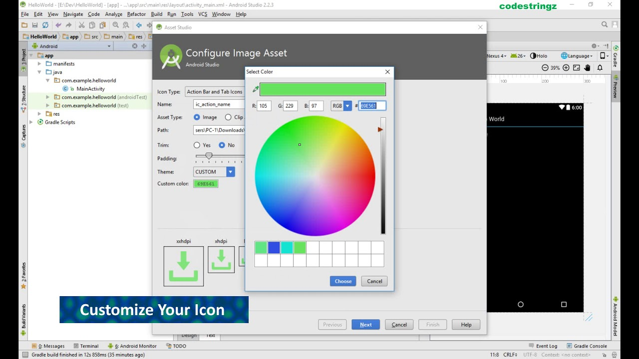 How To Customize Icons And Resource Images In Android Studio | Image Asset